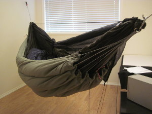 Finished clew underquilt hung on hammock.