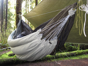 Finished clew underquilt hung on hammock in the wilderness.